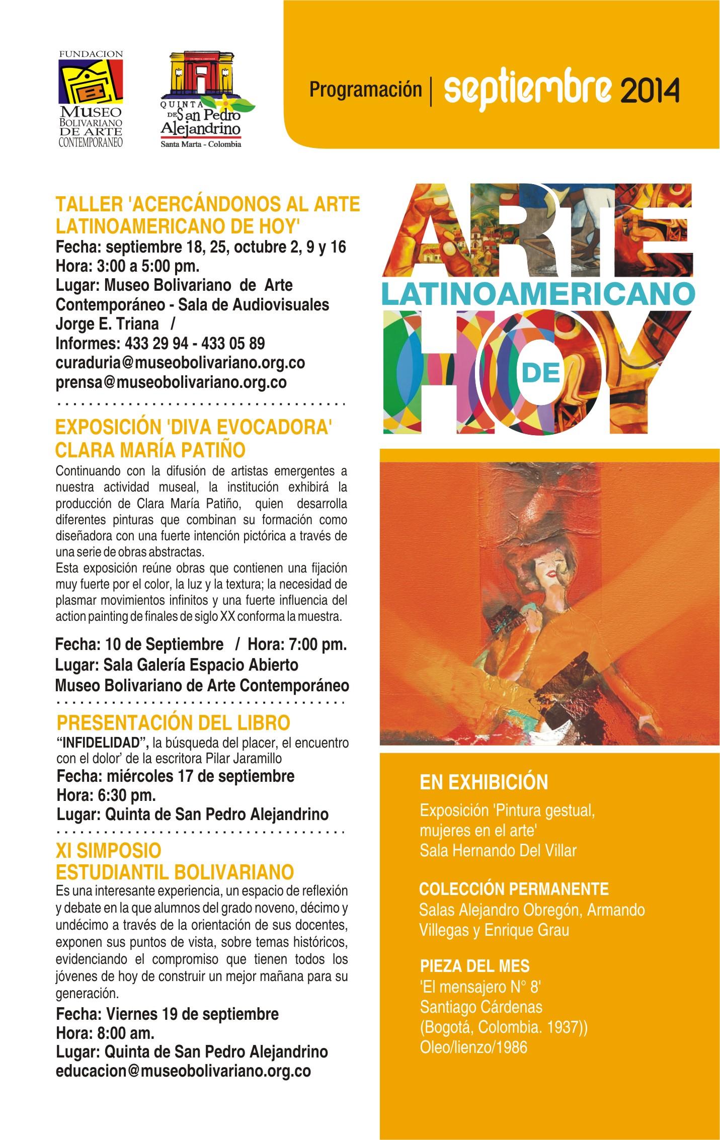 Programación Septiembre Museo Bolivariano-Quinta de San Pedro Alejandrino